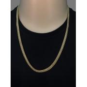 Corrente grumet malha dupla - 4 milímetros - 70 Centímetros - fecho gaveta  - Banhado a ouro 18 k