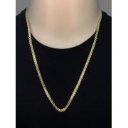 Corrente cartie - Malha dupla  -  5 milímetros - 70 Centímetros - fecho Gaveta - Banhado a ouro 18 k