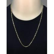 Corrente  veneziana  -  3 milímetros - 70 Centímetros - fecho Canhão - Banhado a ouro 18 k