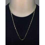 Corrente veneziana - Elo longo -  3 milímetros - 70 Centímetros - fecho Canhão - Banhado a ouro 18 k
