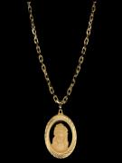 Kit Corrente cartie - 5 milímetros -   70 centímetros  - fecho gaveta   Com Pingente face de Jesus Cristo vazado   Banhados a Ouro 18k