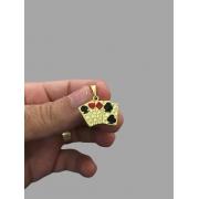 Pingente cartas do baralho - detalhes em resina banhado a ouro 18k