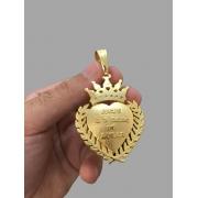 Pingente Coração Jesus é o dono do lugar  - zircônia cravejado -   banhado a ouro 18k