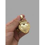 Pingente Coração Jesus é o dono do lugar  -   banhado a ouro 18k