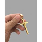 Pingente Cruz amarrada - média - banhado a ouro 18k