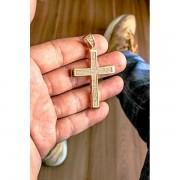 Pingente cruz - cravejado de zircônia  banhado a ouro 18k