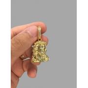 Pingente face de Cristo 3D  banhado a ouro 18k
