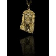 Pingente face de Cristo - zircônia nos olhos  banhado a ouro 18k