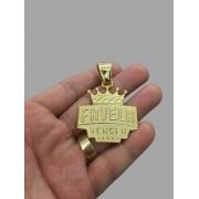 Pingente favela vendeu - Versão média -   banhado a ouro 18k