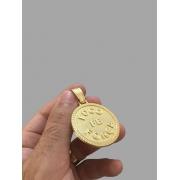 Pingente Foco Força Fé -   banhado a ouro 18k