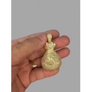 Pingente malote   - pedras cravejadas banhado a ouro 18k