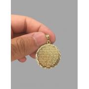 Pingente mandala oração pai nosso  banhado a ouro 18k