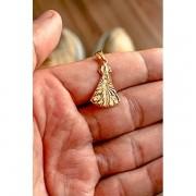 Pingente nossa senhora de aparecida detalhes diamantado  banhado a ouro 18k