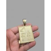 Pingente  Retangular com diamante e escrita Fé -   banhado a ouro 18k