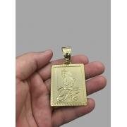 Pingente  Retangular com escrita Fé e mãos rezando  -   banhado a ouro 18k