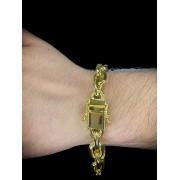 Pulseira Cartie  -  10 milímetros - 22 Centímetros - fecho gaveta trava dupla - Banhado a ouro 18 k