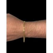 Pulseira Cartie dupla -  2 milímetros  - 22 Centímetros - fecho gaveta - Banhado a ouro 18 k