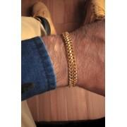 Pulseira grumet malha dupla -  9 milímetros - 22 Centímetros - fecho gaveta trava dupla - Banhado a ouro 18 k