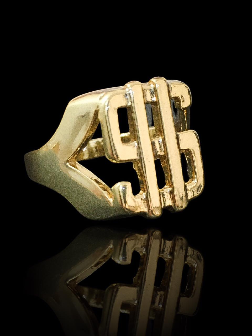 Anel masculino cifrão vazado  banhado a ouro 18K -  6 g (prazo de 7 dias para a fabricação  )