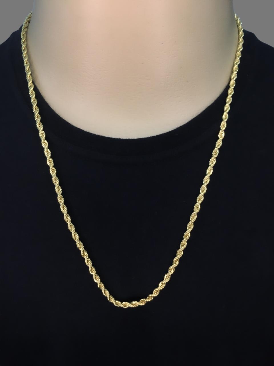 Cordão  Baiano -  5 milímetros - 70 Centímetros - fecho Canhão  - Banhado a ouro 18 k