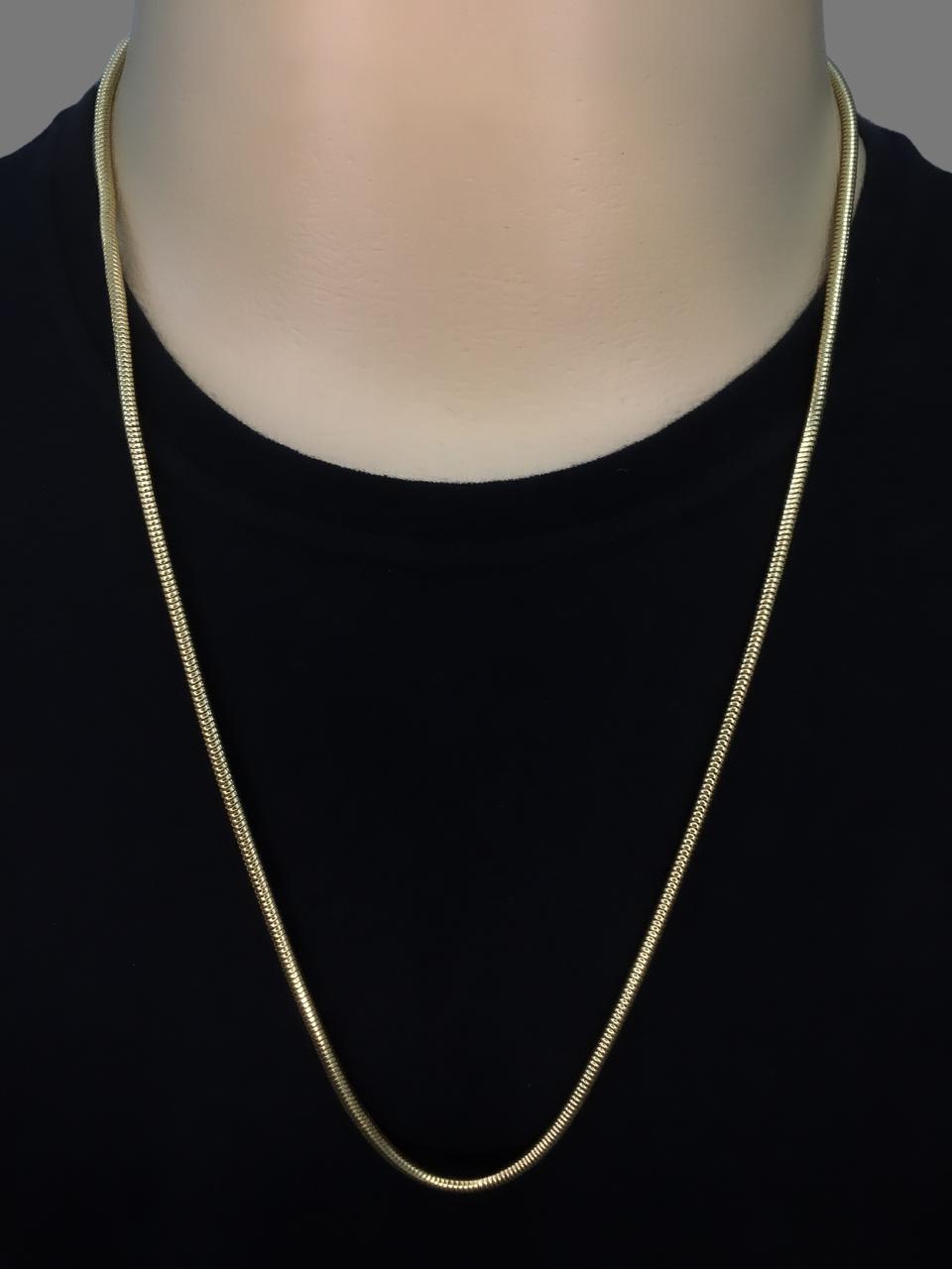 Cordão Rabo de Rato -  3 milímetros - 70 Centímetros - fecho Canhão - Banhado a ouro 18 k