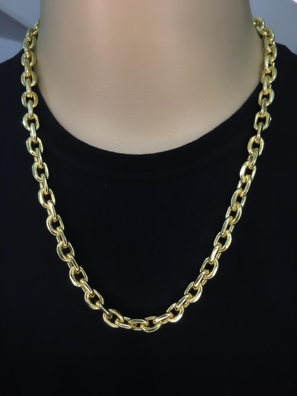 Corrente Cartie  -  10 milímetros - 70 Centímetros - fecho gaveta - Banhado a ouro 18 k