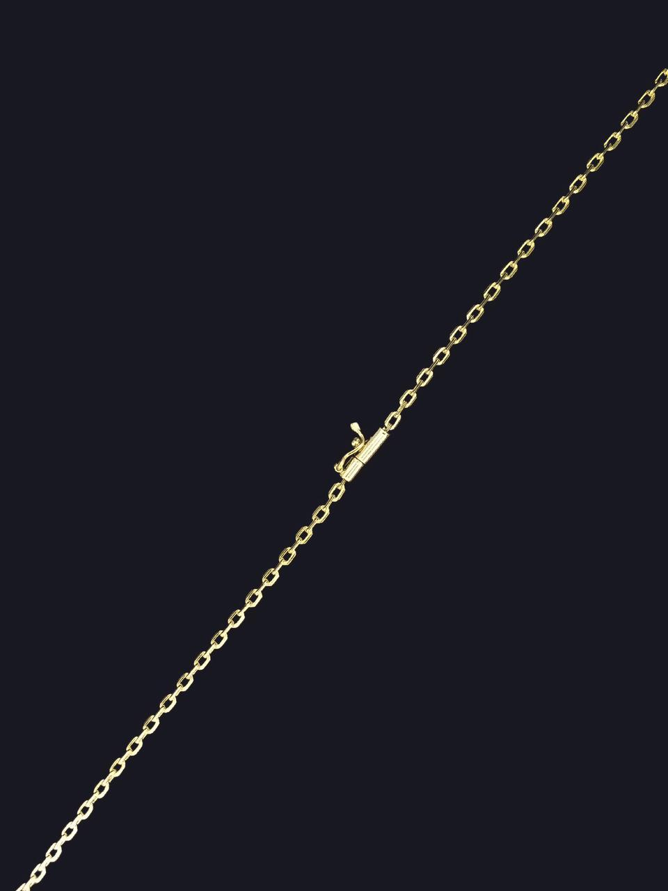 Corrente Cartie-  2 milímetros -Elos achatados - 70 Centímetros - fecho Gaveta - Banhado a ouro 18 k