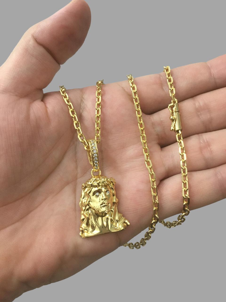 Corrente cartie - 3MM  -   70 CM  - fecho canhão Com Pingente face de Jesus Cristo 3D -Banhados a Ouro 18k