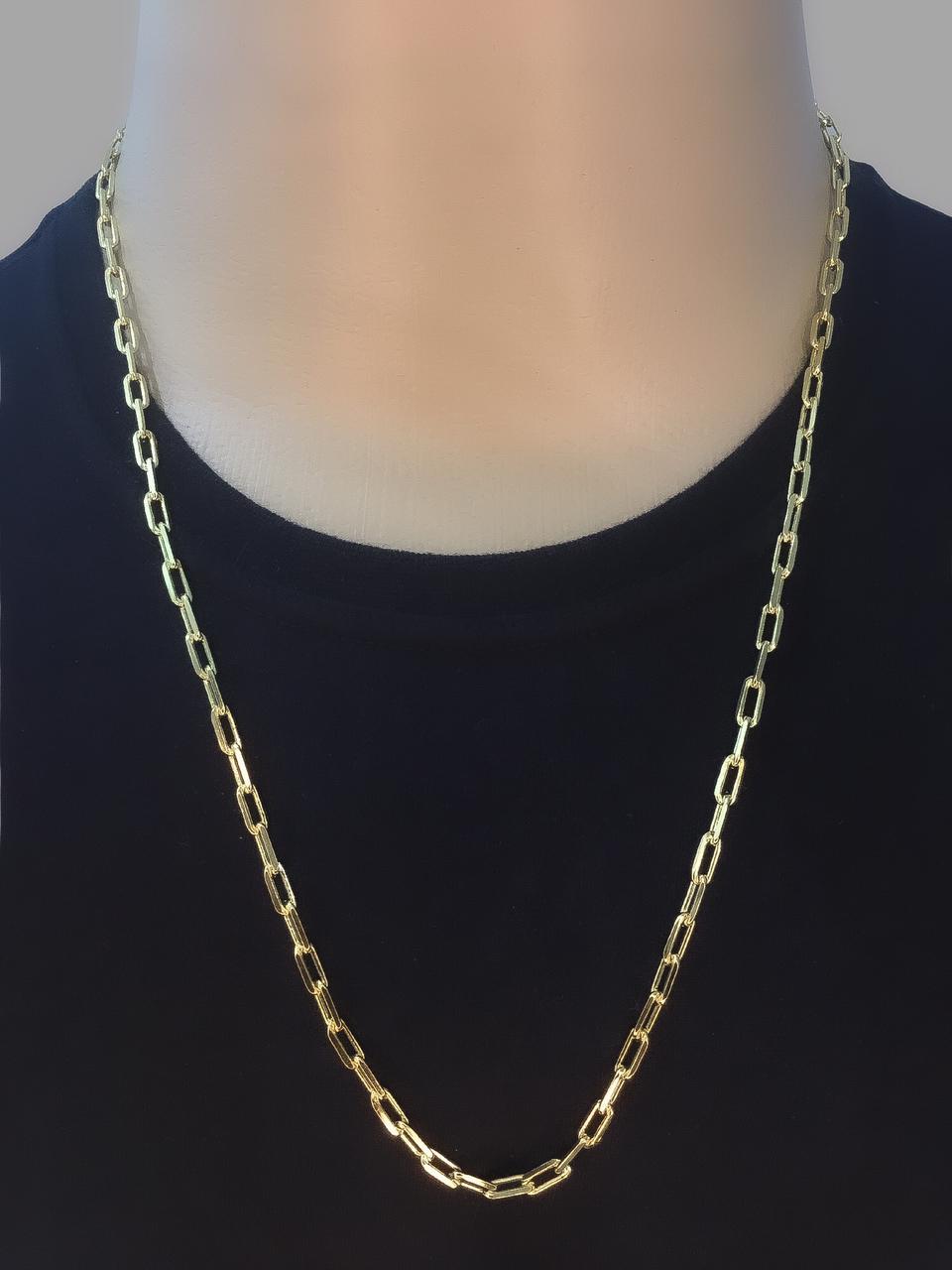 Corrente cartie -  4 milímetros - 70 Centímetros - fecho Canhão  - Banhado a ouro 18 k