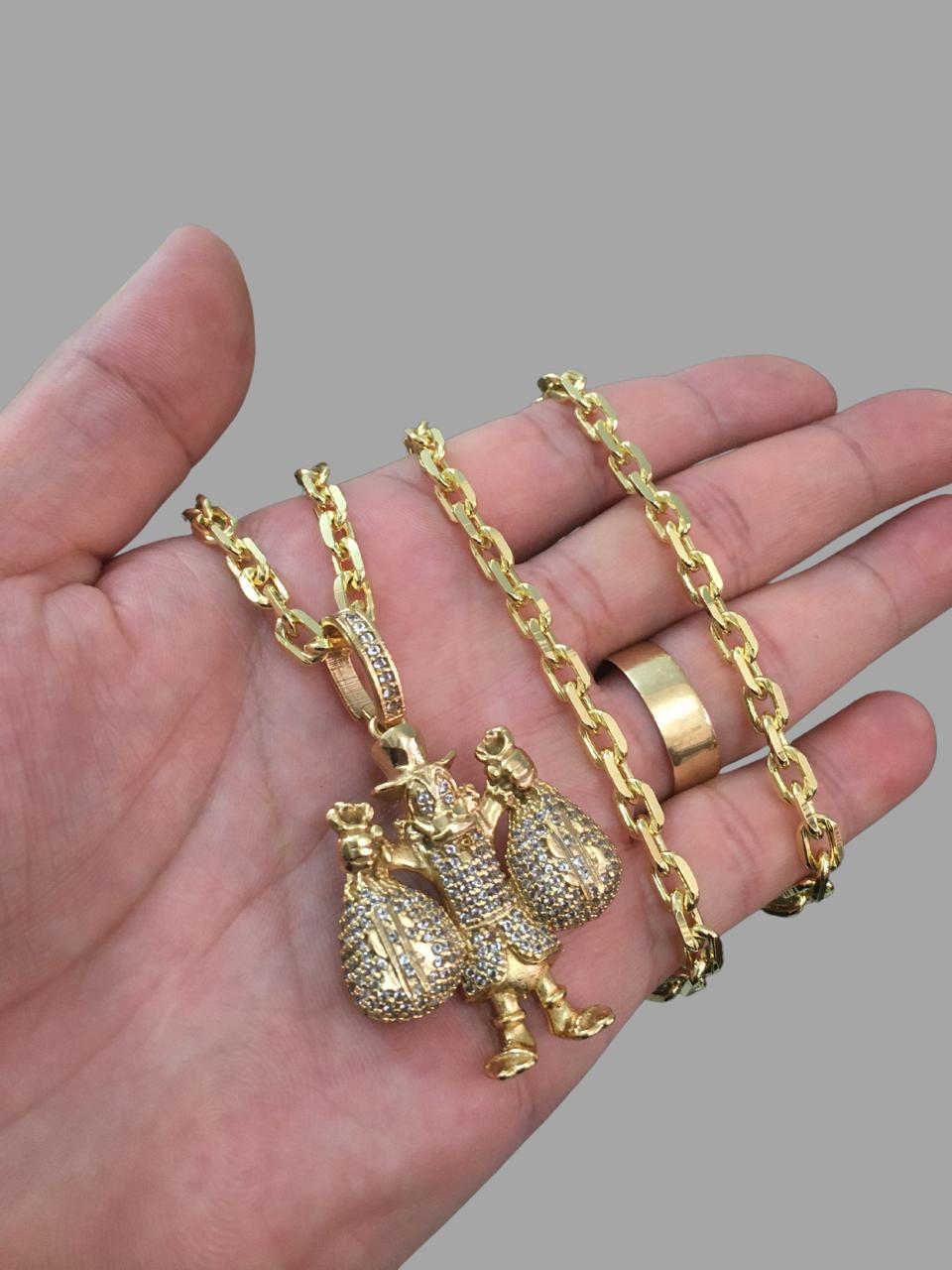 Corrente cadeado - 5 milímetros - 70 centímetros   - fecho canhão Com Pingente Tio Patinhas - Cravejado de Zircônia -Banhados a Ouro 18k