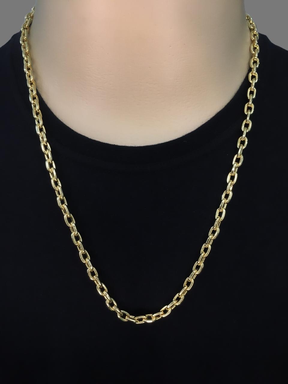 Corrente cartie -  7 milímetros - 70 Centímetros - fecho Canhão  - Banhado a ouro 18 k