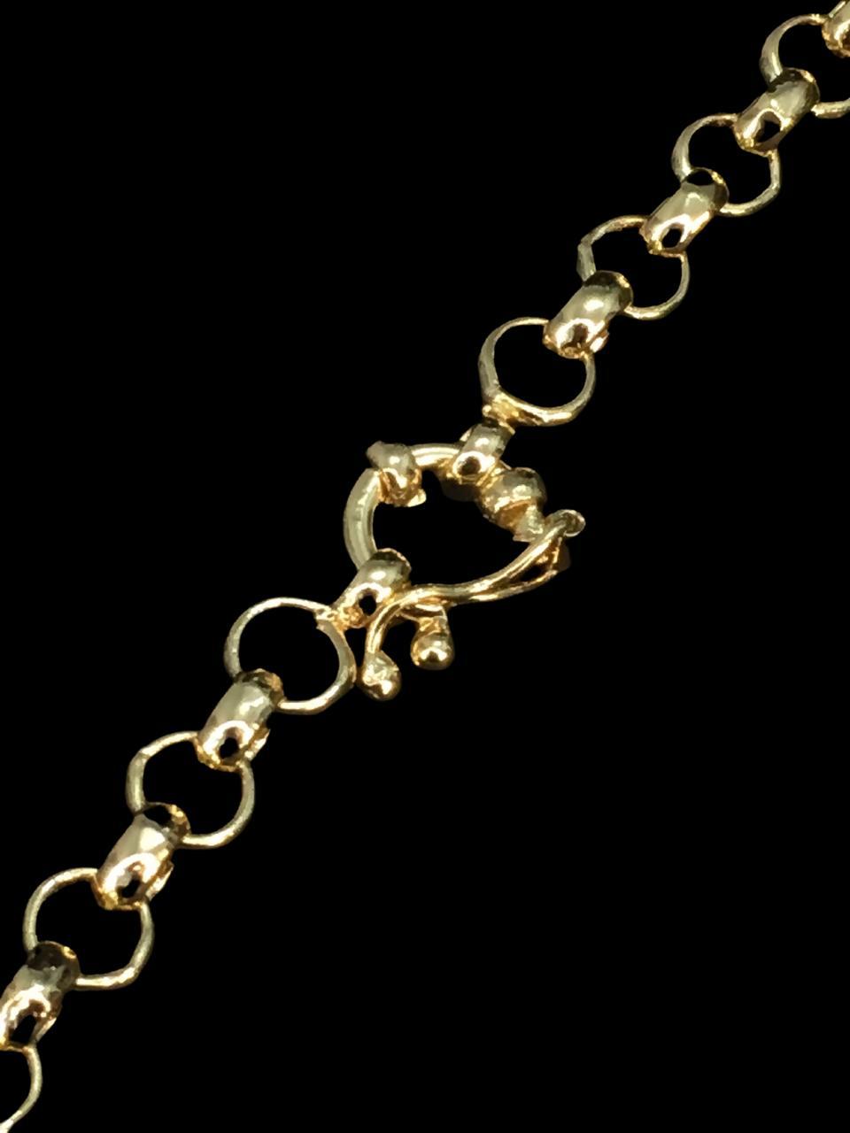 Corrente elo Português -  6 milímetros - 70 Centímetros - fecho Bóia - Banhado a ouro 18 k