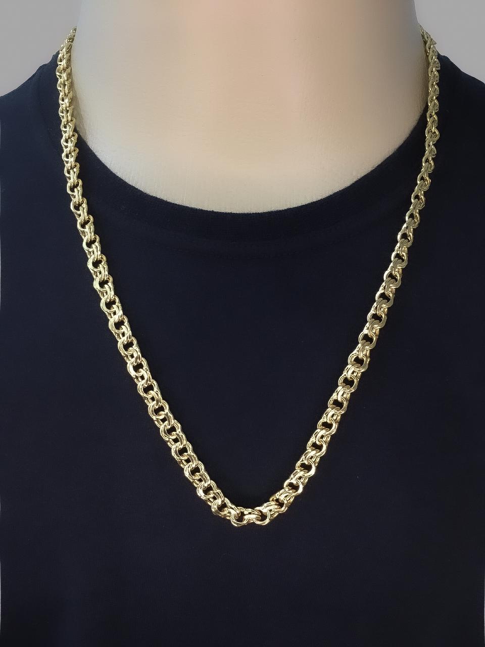 Corrente Friso -  8 milímetros - 70 Centímetros - fecho Gaveta - Banhado a ouro 18 k
