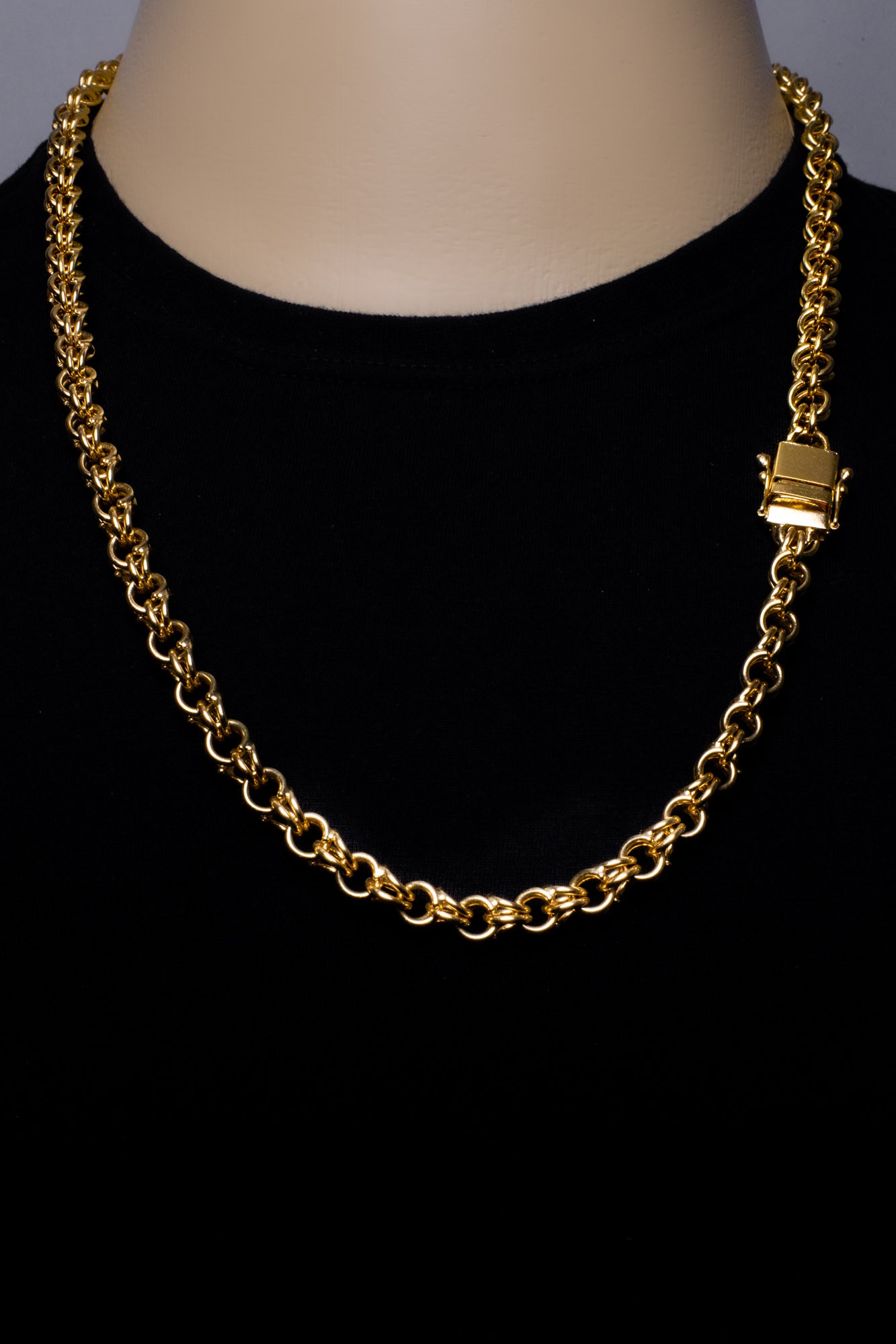 Corrente Friso duplo -  9 milímetros - 70 Centímetros - fecho Gaveta   - Banhado a ouro 18 k