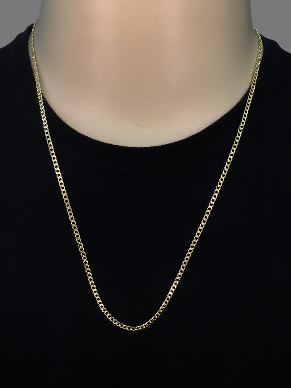 Corrente Grumet -  3 milímetros - 70 Centímetros - fecho Gaveta - Banhado a ouro 18 k