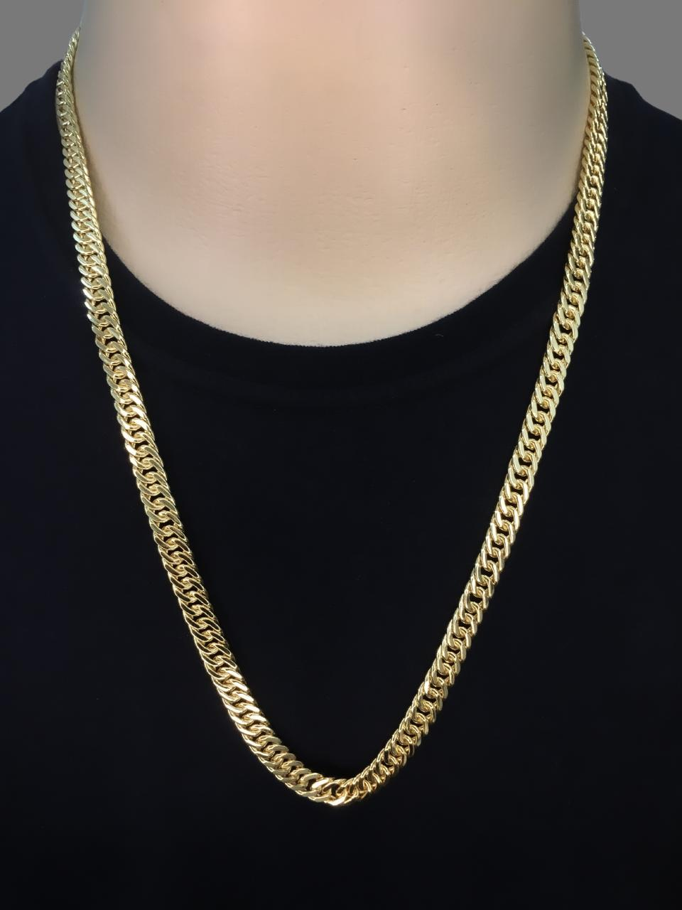 Corrente Grumet dupla -  7 milímetros - 70 Centímetros - fecho Gaveta trava dupla  - Banhado a ouro 18 k