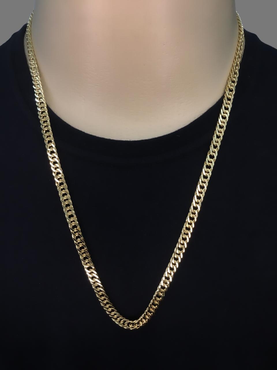 Corrente grumet malha dupla  -  6 milímetros - 70 Centímetros - fecho gaveta - Banhado a ouro 18 k