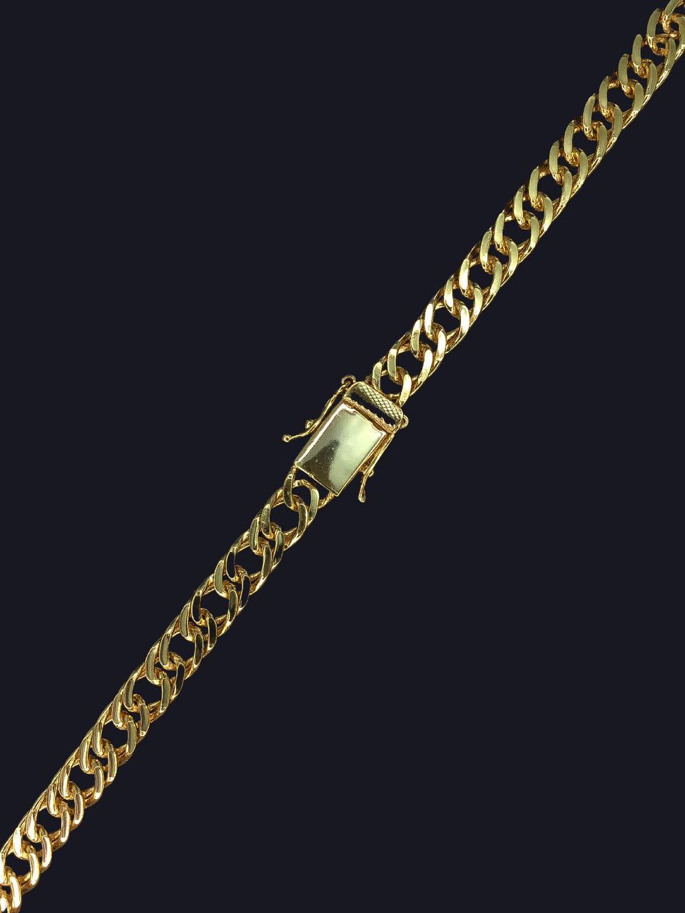 Corrente Lacraia -  10 milímetros - 70 Centímetros - fecho Gaveta trava dupla    - Banhado a ouro 18 k