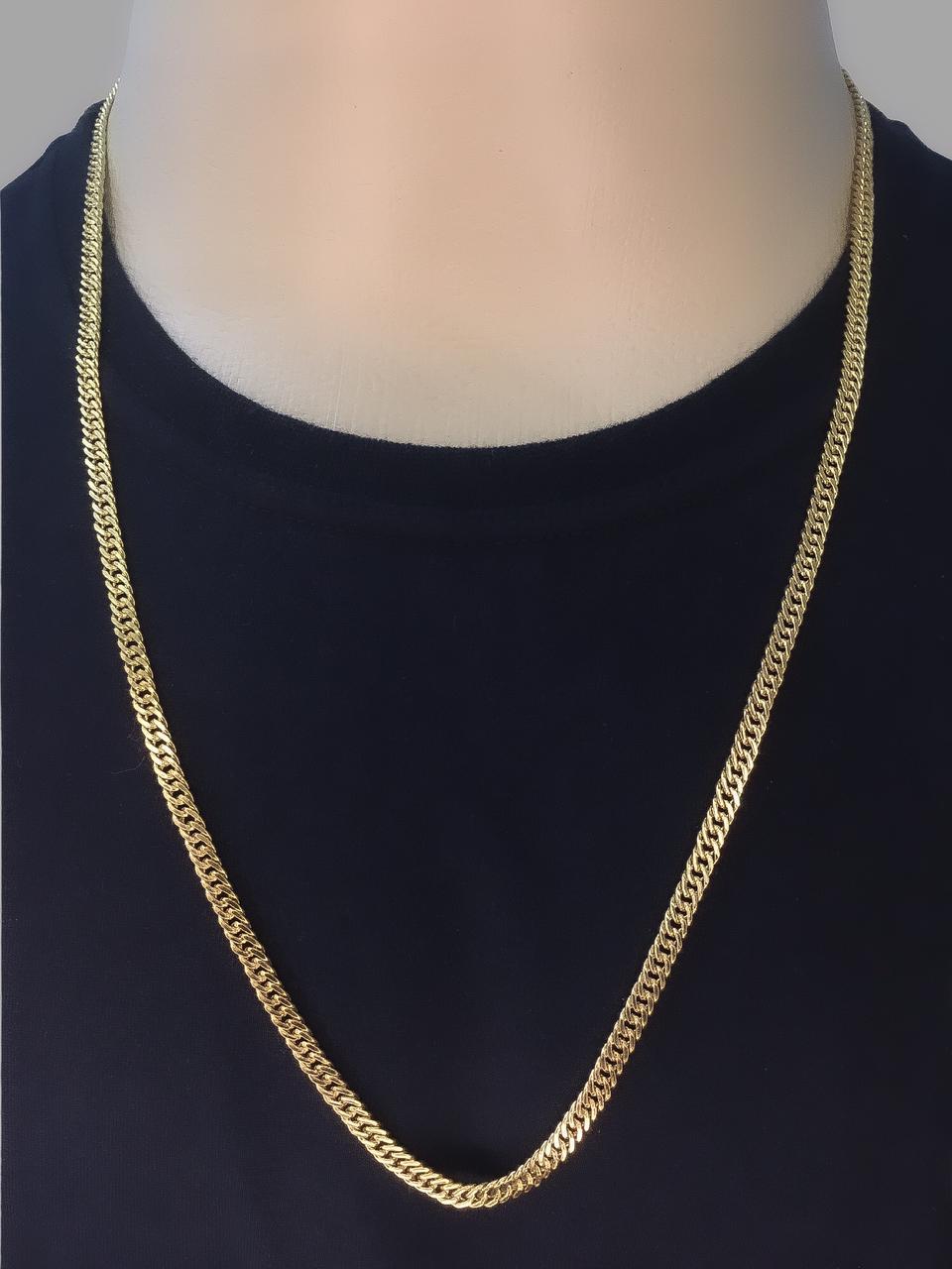 Corrente Lacraia -  4 milímetros - 70 Centímetros - fecho Gaveta - Banhado a ouro 18 k