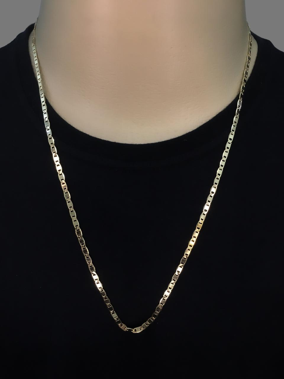 Corrente Piastrine -  4 milímetros - 70 Centímetros - fecho Gaveta - Banhado a ouro 18 k