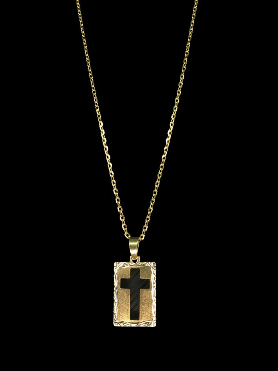 Kit Corrente cartie - 2 milímetros -   70 centímetros  - fecho gaveta   Com Pingente chapa cruz vazada   Banhados a Ouro 18k
