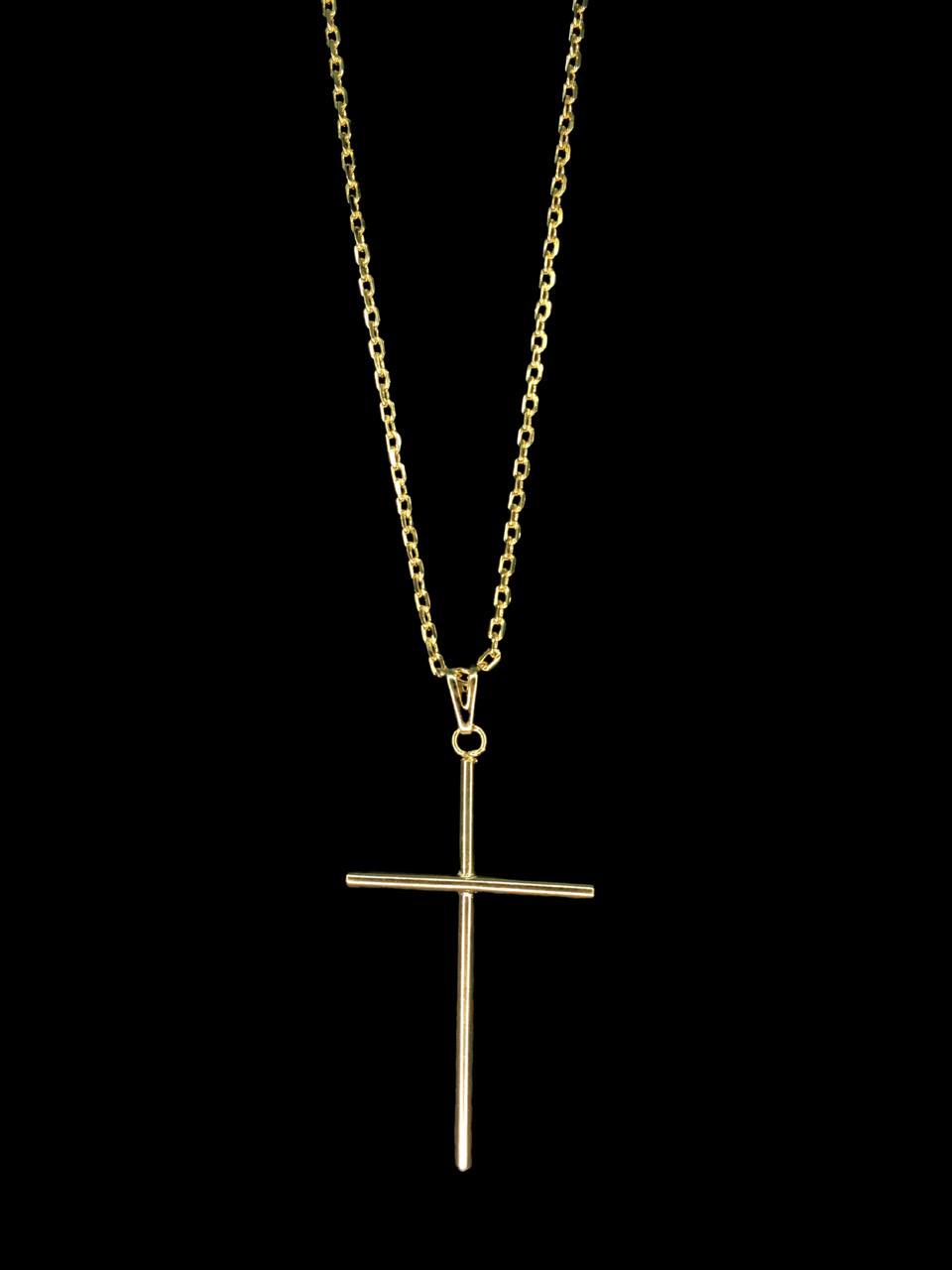 Kit Corrente cartie - 2 milímetros -   70 centímetros  - fecho gaveta   Com Pingente cruz palito   Banhados a Ouro 18k