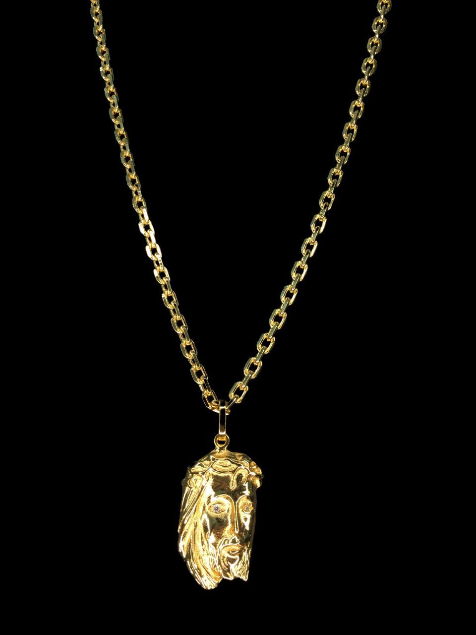 Kit Corrente cartie - 3 milímetros -   70 centímetros  - fecho gaveta   Com Pingente face de Jesus Cristo  Banhados a Ouro 18k