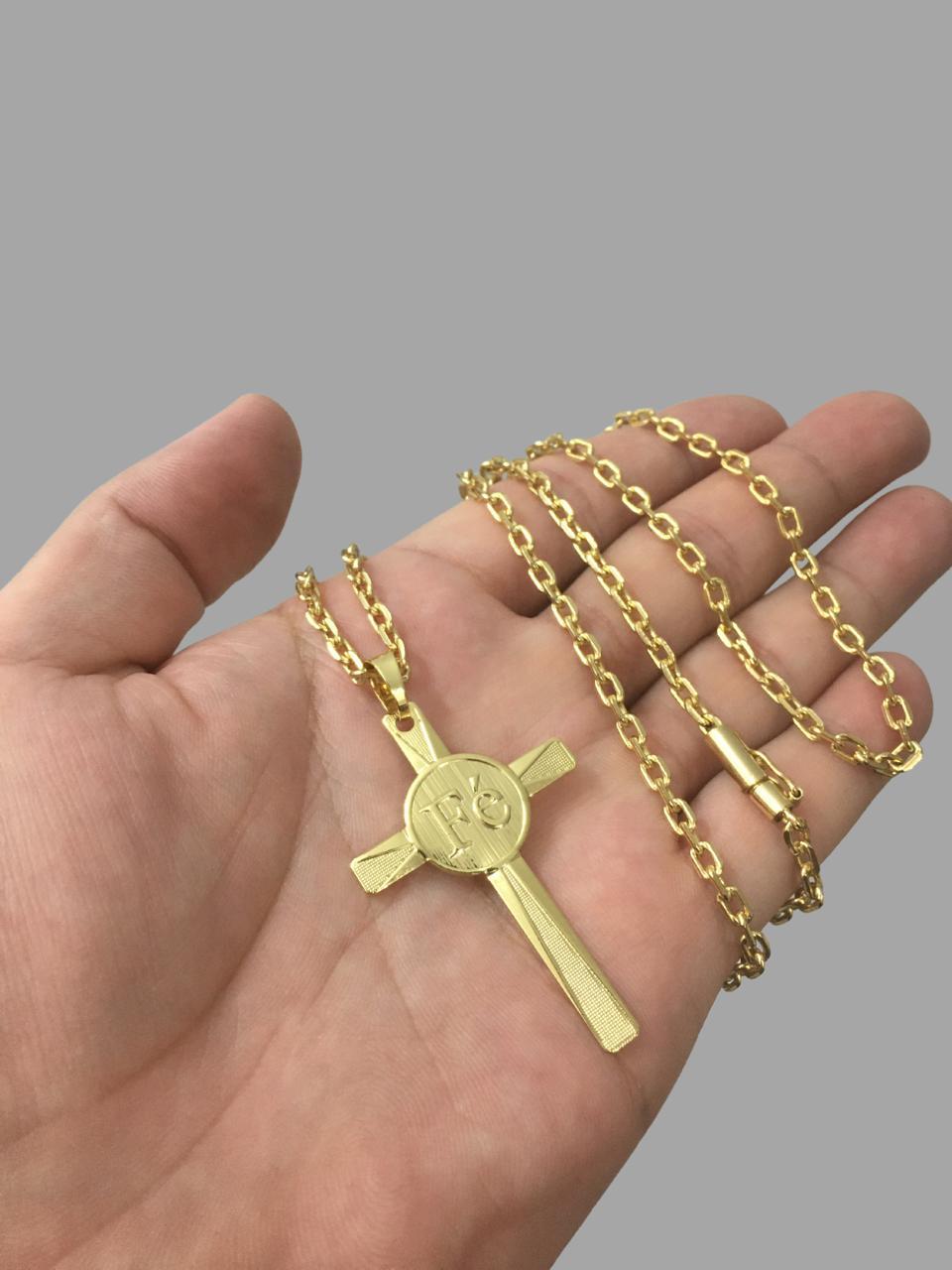 Kit Corrente cartie - 3MM  -   70 CM  - fecho canhão Com Pingente chapa cruz escrita fé -Banhados a Ouro 18k