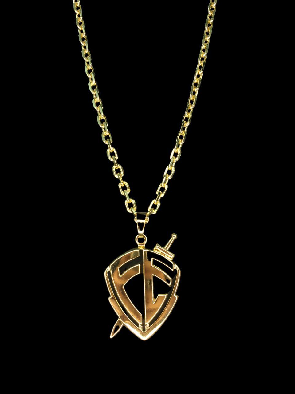 Kit Corrente cartie de 3 milímetros  70 centímetros  Com Pingente escudo da fé   Banhados a Ouro 18k