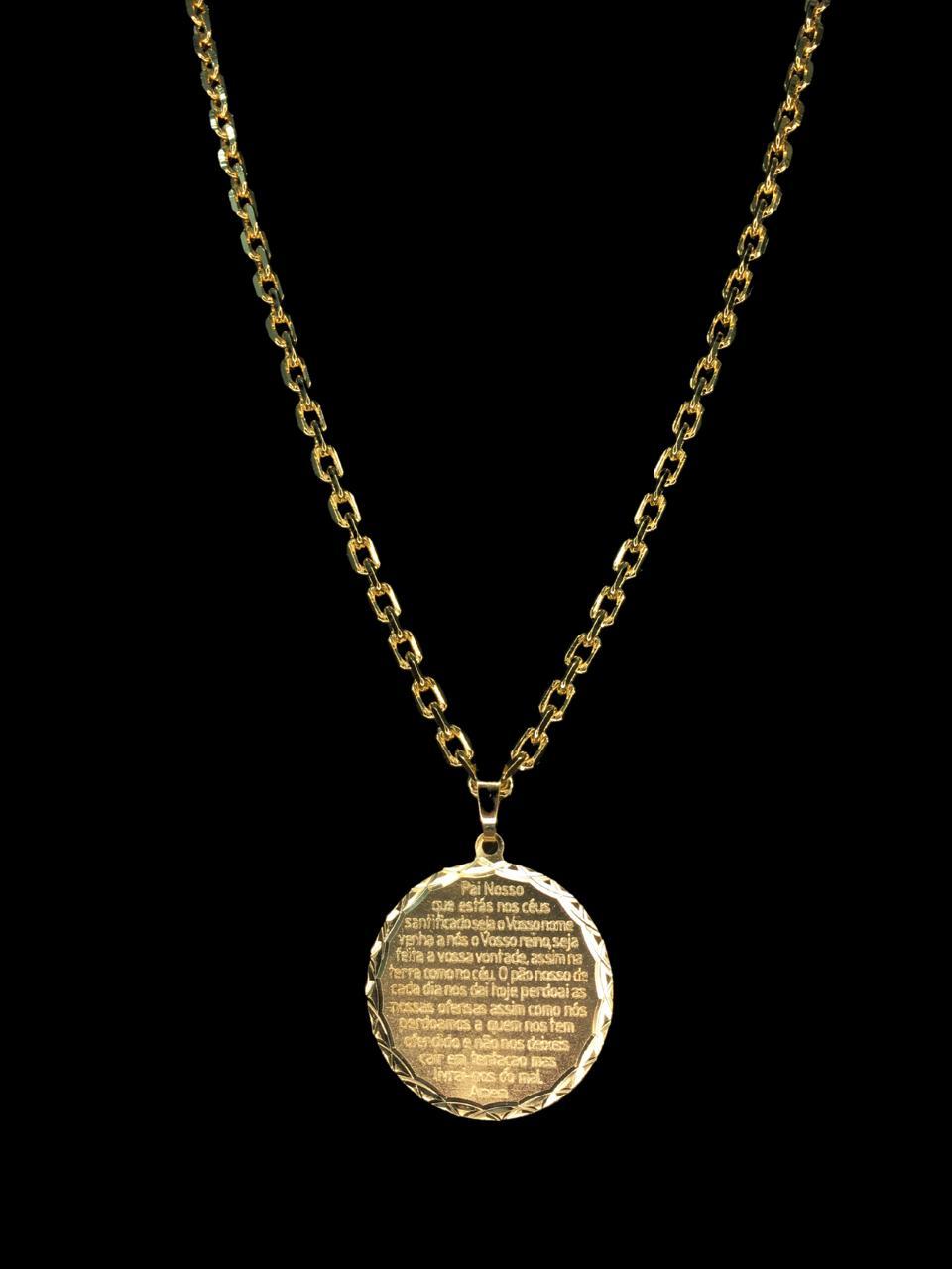 Kit Corrente cartie de 3 milímetros  70 centímetros  Com Pingente mandala oração pai nosso  Banhados a Ouro 18k