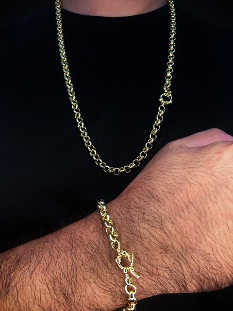 Kit Corrente elo português de 6 milímetros  70 centímetros  Com Pulseira elo português de 6 milímetros   22 centímetros  Banhados a Ouro 18k