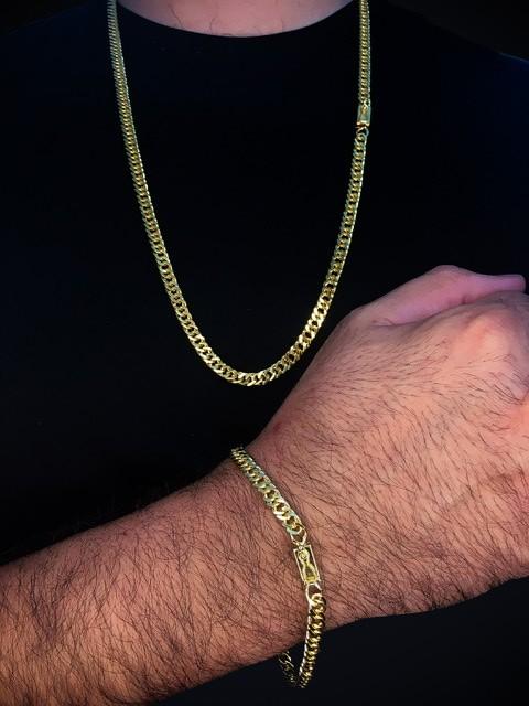 Kit Corrente grumet malha dupla de 6 milímetros  70 centímetros  Com Pulseira grumet malha dupla de 6 milímetros  22 centímetros  Banhados a Ouro 18k