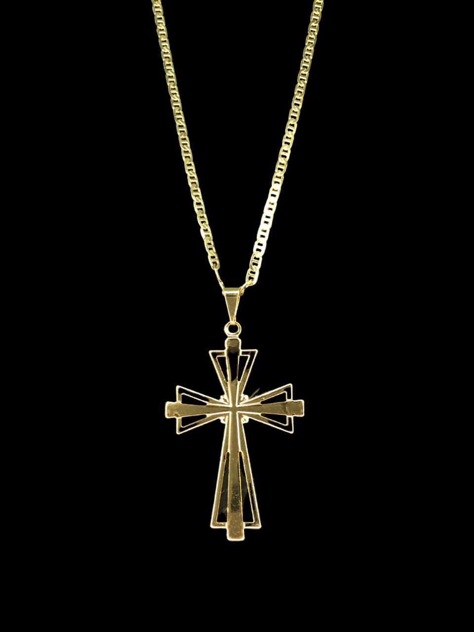 Kit Corrente piastrine - 2 milímetros -   70 centímetros  -  Com Pingente crucifixo vazado   Banhados a Ouro 18k