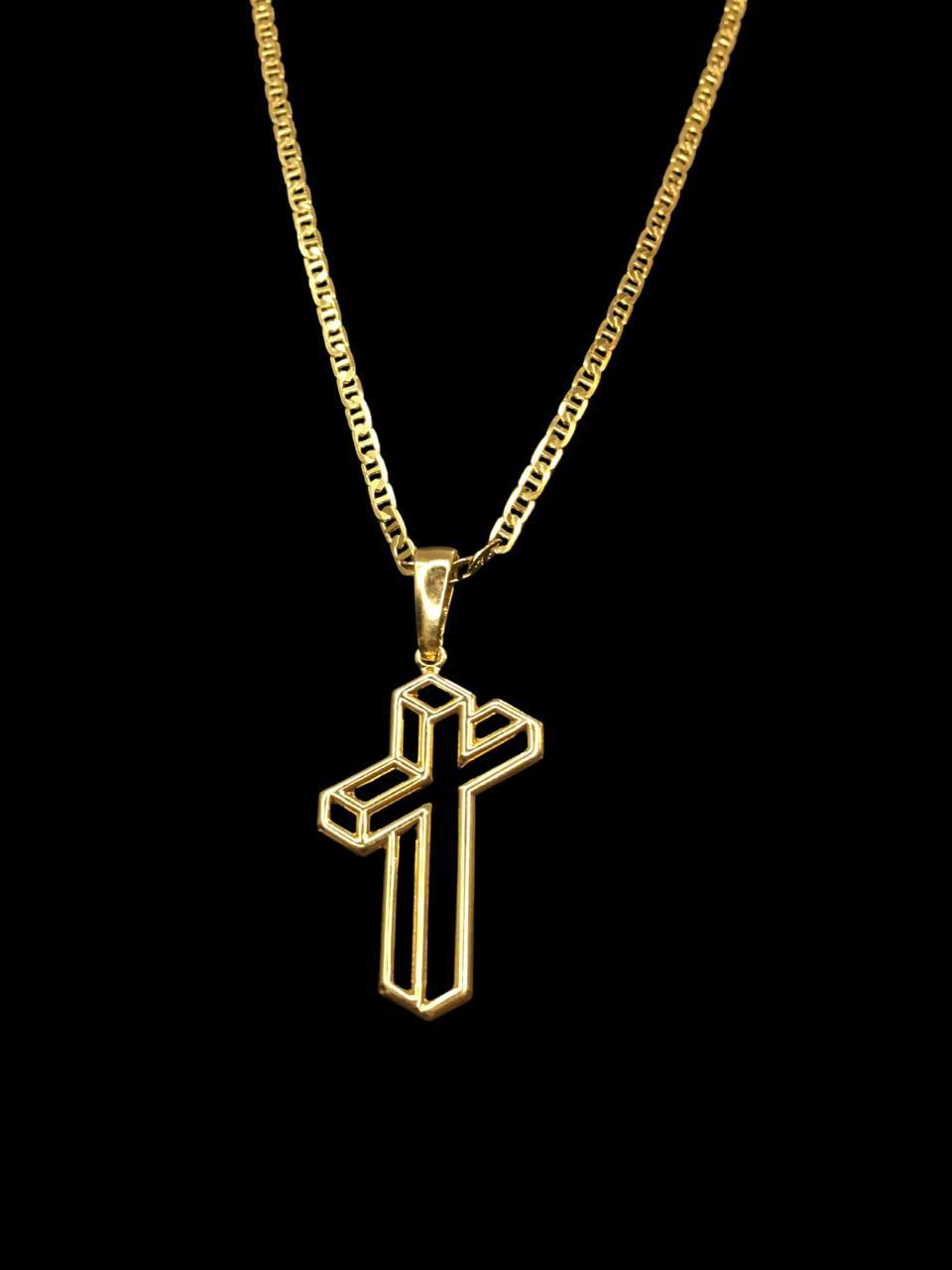 Kit Corrente piastrine - 2 milímetros -   70 centímetros  -  Com Pingente cruz sombra 3D  Banhados a Ouro 18k